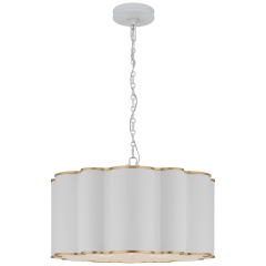 Markos Large Hanging Shade in White and Gild with Frosted Acrylic