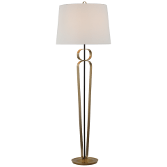 Valda Large Floor Lamp in Hand-Rubbed Antique Brass and Matte Black with Linen Shade