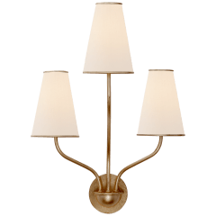 Montreuil Small Wall Sconce in Gild with Linen Shades