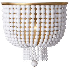 Jacqueline Medium Sconce in Hand-Rubbed Antique Brass with White Acrylic