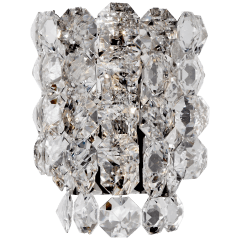 Sanger Large Sconce in Polished Nickel with Crystal