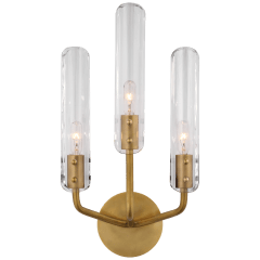 "Casoria 17"" Triple Sconce in Hand-Rubbed Antique Brass with Clear Glass"