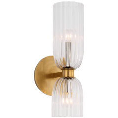 """Asalea 16"""" Double Bath Sconce in Hand-Rubbed Antique Brass with Clear Glass"""