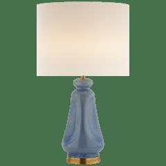 Kapila Table Lamp in Polar Blue Crackle with Linen Shade