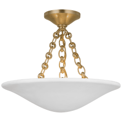 "Mollino 16"" Semi Flush Mount in Hand-Rubbed Antique Brass with Plaster White Shade"