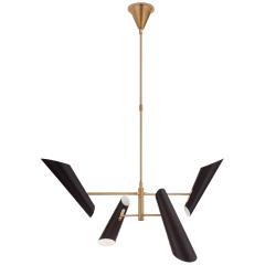 Franca Small Pivoting Chandelier in Hand-Rubbed Antique Brass with Black Shades