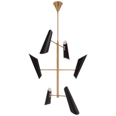 Franca Tall Pivoting Chandelier in Hand-Rubbed Antique Brass with Black Shades