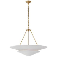 Mollino Large Tiered Chandelier in Hand-Rubbed Antique Brass with Plaster White Shade