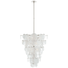 Loire Cascading Chandelier in Polished Nickel with White Strie Glass