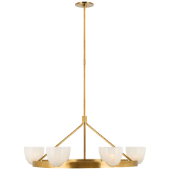 Carola Large Ring Chandelier in Hand-Rubbed Antique Brass with White Strie Glass