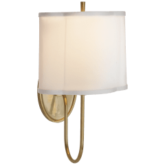Simple Scallop Wall Sconce in Soft Brass with Silk Shade