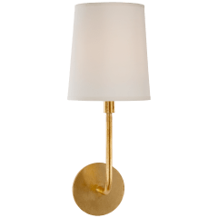 Go Lightly Sconce in Gilded with Silk Shade