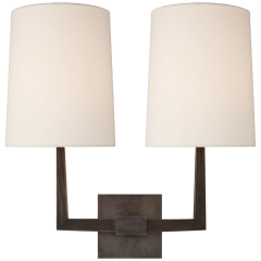 Ojai Large Double Sconce in Bronze with Linen Shade