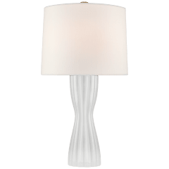 Seine Medium Table Lamp in White Glass with Linen Shade