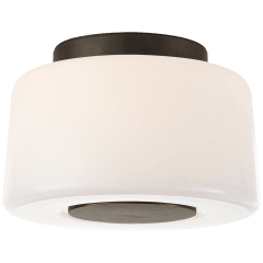 Acme Small Flush Mount in Bronze with White Glass