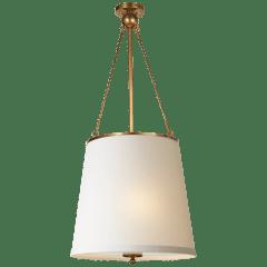 Westport Hanging Shade in Soft Brass with Silk Shade