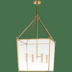 Cochere Large Lantern in Soft Brass