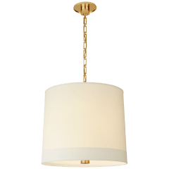 Simple Banded Hanging Shade in Soft Brass with Silk Banded Shade