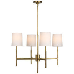 Clarion Small Chandelier in Soft Brass with Linen Shades