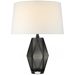 Palacios Medium Table Lamp in Smoked Glass with Linen Shade