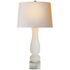 Contemporary Balustrade Table Lamp in Alabaster with Natural Paper Shade