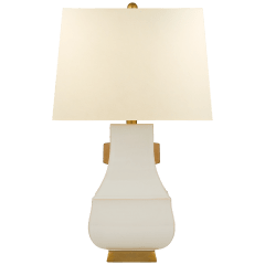 Kang Jug Large Table Lamp in Ivory and Burnt Gold Accent with Natural Percale Shade