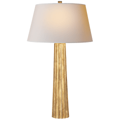 Fluted Spire Large Table Lamp in Gilded Iron with Natural Paper Shade