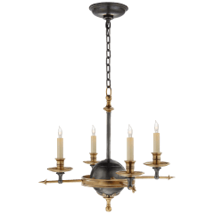Leaf and Arrow Small Chandelier in Bronze with Antique-Burnished Brass