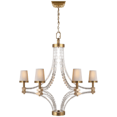 Crystal Cube Large Chandelier in Antique Burnished Brass with Natural Paper Shades