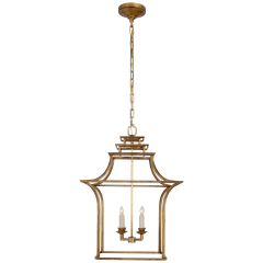 Brighton Pagoda Lantern in Gilded Iron