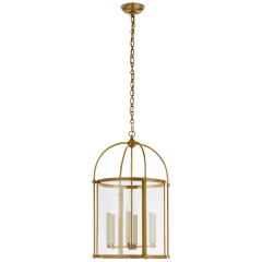 Plantation Medium Round Lantern in Antique-Burnished Brass with Clear Glass
