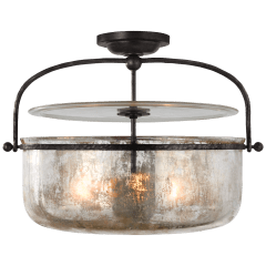 Lorford Medium Semi-Flush Lantern in Aged Iron with Mercury Glass