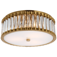 "Kean 14"" Flush Mount in Hand-Rubbed Antique Brass with Clear Glass Rods and Frosted Glass Diffuser"