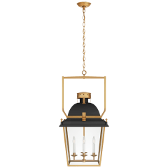 Coventry Medium Lantern in Matte Black and Antique-Burnished Brass with Clear Glass