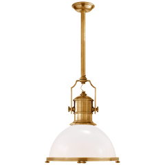 Country Industrial Large Pendant in Antique-Burnished Brass with White Glass Shade