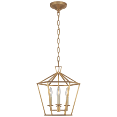 Darlana Small Hexagonal Lantern in Antique-Burnished Brass