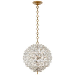 Karina Medium Sphere Chandelier in Antique-Burnished Brass and Crystal