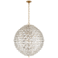 Karina Grande Sphere Chandelier in Antique-Burnished Brass and Crystal