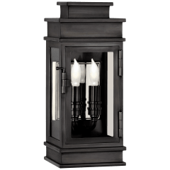 Linear Mini Wall Lantern in Bronze with Clear Glass