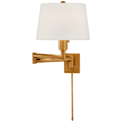 Chunky Swing Arm in Antique-Burnished Brass with Linen Shade