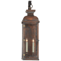 Suffork Tall Scroll Arm Lantern in Natural Copper