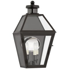 Stratford Small 3/4 Wall Lantern in Blackened Copper with Clear Glass