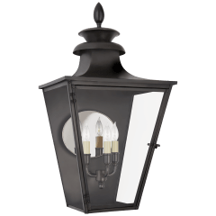 Albermarle Medium 3/4 Wall Lantern in Blackened Copper with Clear Glass