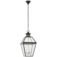 Stratford Large Hanging Lantern in Blackened Copper with Clear Glass