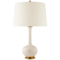 Coy Medium Table Lamp in Ivory with Natural Percale Shade