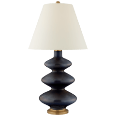 Smith Medium Table Lamp in Mixed Blue Brown with Natural Percale Shade