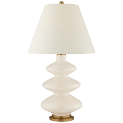 Smith Large Table Lamp in Ivory with Natural Percale Shade
