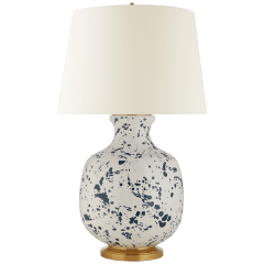 Buatta Large Table Lamp in Blue Splatter with Linen Shade