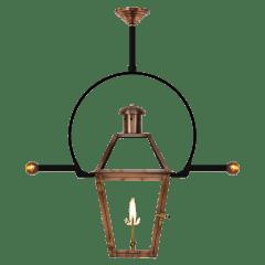 "Georgetown 15"" Classic Yoke Ladder Rest Ceiling Lantern in Antique Copper, Gas"