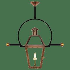 "Georgetown 18"" Classic Yoke Ladder Rest Ceiling Lantern in Antique Copper, Gas"